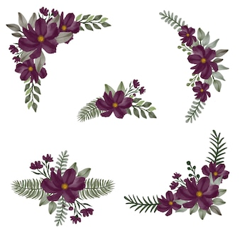 Disposizione dell'acquerello nel disegno floreale viola scuro