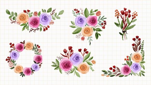 Arrangiamento collezione di rose di peonia bouquet floreale acquerello
