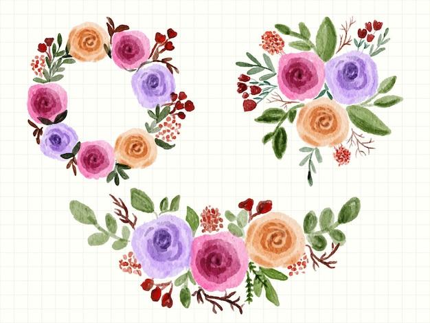 Arrangiamento acquerello bouquet floreale peonia rose primavera