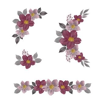 Composizione floreale acquerello cornice di rosa e grigio