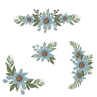 Disposizione del fiore dell'acquerello di blu per invito a nozze