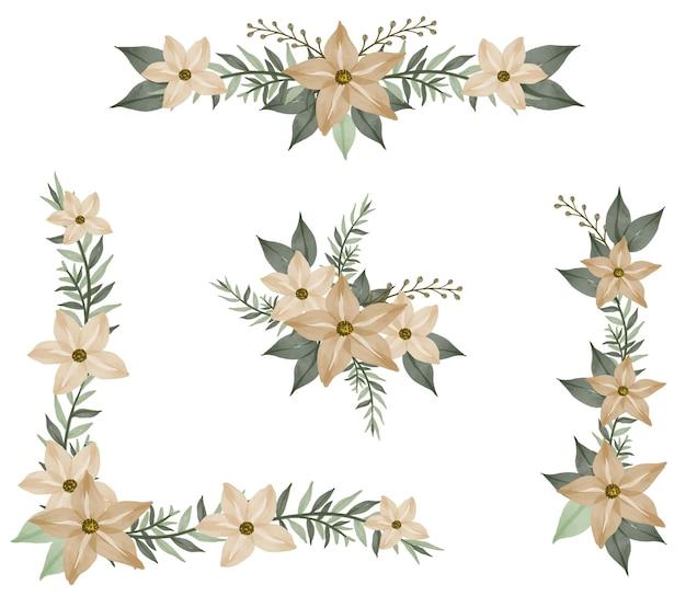Arrangiamento acquerello fiore cornice di crema