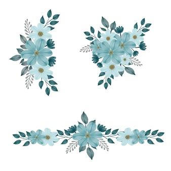 Arrangiamento acquerello fiore di verde pallido per invito a nozze