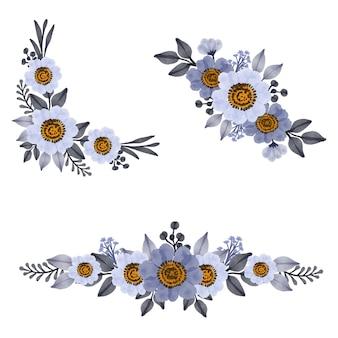 Disposizione fiore acquerello di viola e bianco per invito a nozze