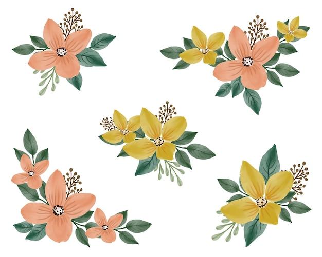 Disposizione fiore acquerello di giallo e arancione per biglietto di auguri
