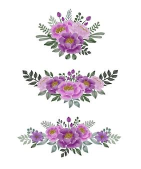 Disposizione di bouquet floreale rosa e viola dell'acquerello