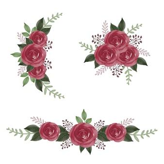 Arrangiamento bouquet di rose acquerello per invito a nozze disegno vettoriale