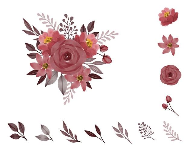 Composizione acquerello di bouquet di rose con elemento floreale ramo foglia grigia e bocciolo