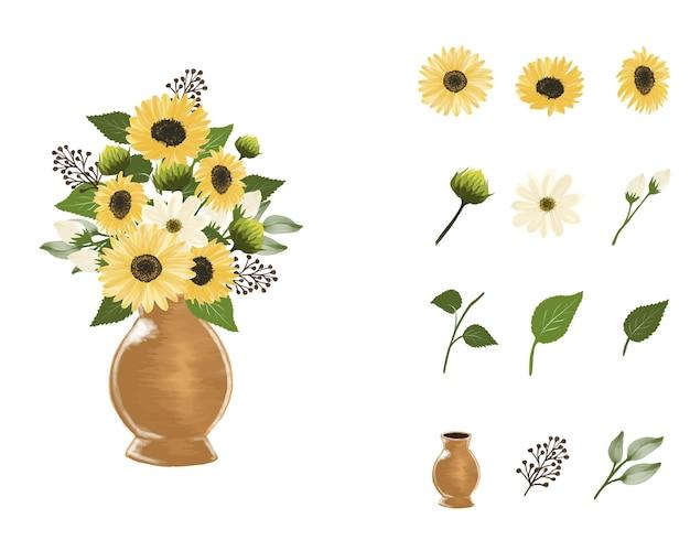 Disposizione di girasole acquerello in vaso marrone con bocciolo e foglie di ramoscello elemento floreale