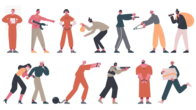Prigionieri arrestati, ladri e gangster criminali insieme