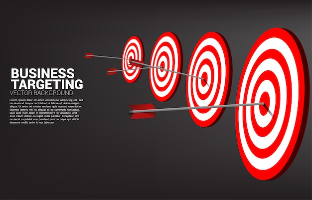 Colpo di tiro con l'arco della freccia al centro del bersaglio. concetto di business dell'obiettivo e del cliente di marketing. missione e obiettivo della visione aziendale.