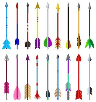 Icona stabilita del fumetto della freccia. arma stabilita isolata dell'icona del fumetto.