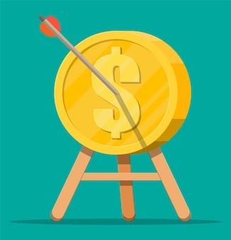 Freccia nel bersaglio della moneta su treppiede