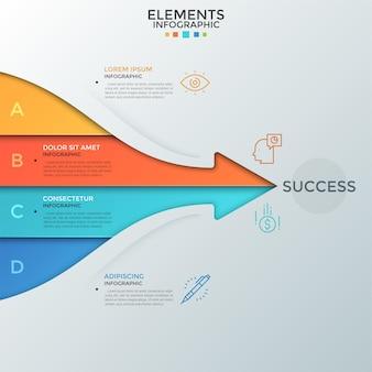 La freccia consisteva di quattro strisce colorate con un posto per il testo all'interno che puntava alla parola successo. concetto di 4 elementi essenziali per uno sviluppo di successo. layout di progettazione infografica.