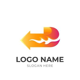 Logo freccia fuoco, freccia e fuoco, logo combinato con stile di colore arancione 3d