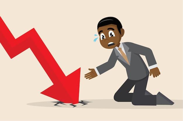 Grafico della freccia che scende e uomo d'affari depresso.