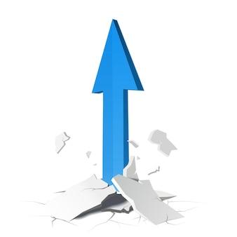 Concetto di crescita della freccia. illustrazione su sfondo bianco.