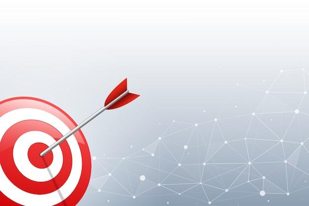 Freccia che colpisce un dardo bersaglio sul punto di connessione e sullo sfondo della linea. illustrazione vettoriale