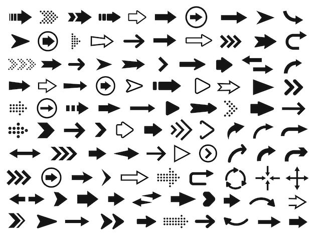Icona della freccia. mega set di frecce vettoriali