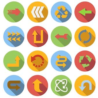 Set di icone freccia, stile piatto