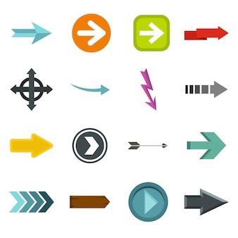 Icone della freccia impostate in stile piano