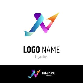 Modello di logo aziendale lettera n freccia