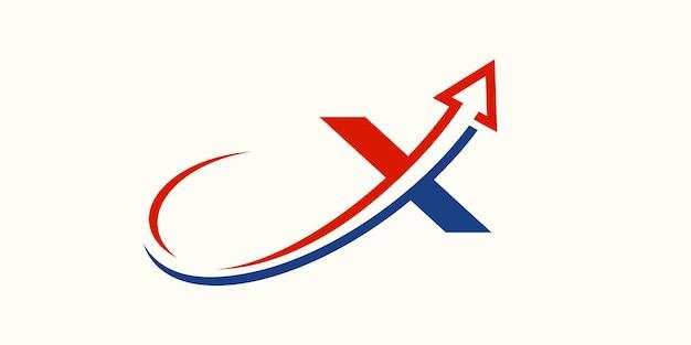 Design del logo della lettera x della freccia, segno di lettera creativo adatto per l'identità del marchio aziendale.
