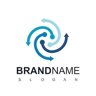 Modello di progettazione del logo della freccia, simbolo della tecnologia della freccia del cerchio