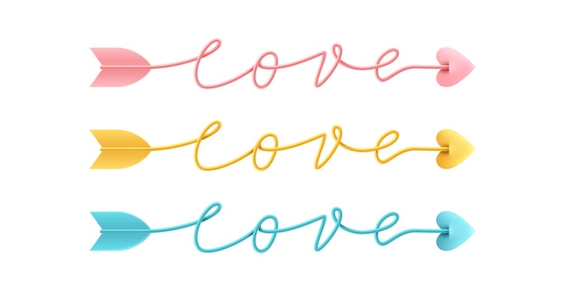 Freccia amore script parola disegnata a mano scritte su bianco.