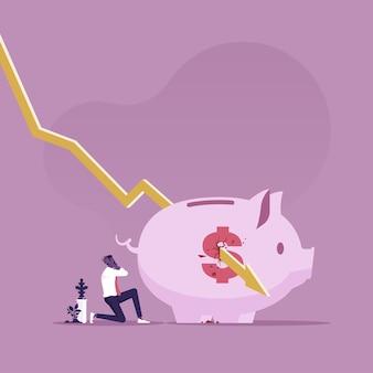 Freccia che passa attraverso il salvadanaio che rappresenta la perdita di investimento il concetto di vettore di crisi economica
