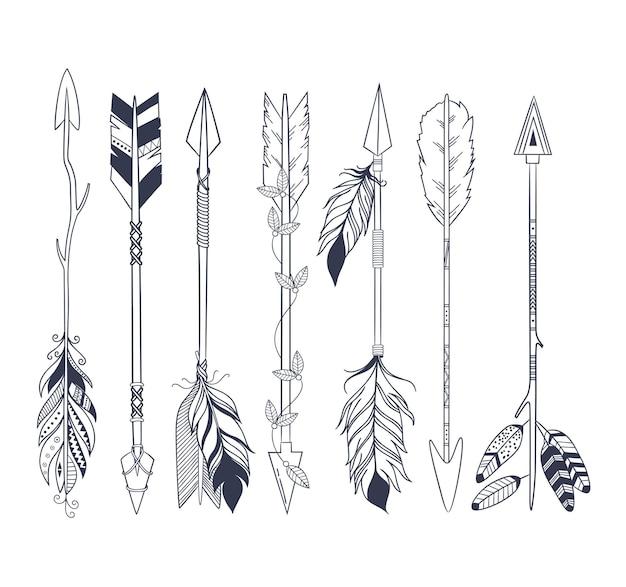Freccia impostata in stile indiano nativo americano.
