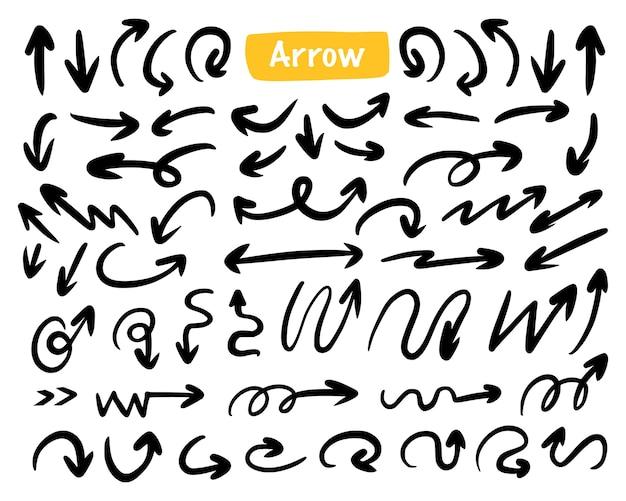 Collezione di doodle di disegno a forma di freccia grande