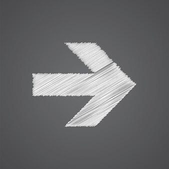 Freccia schizzo logo doodle icona isolato su sfondo scuro