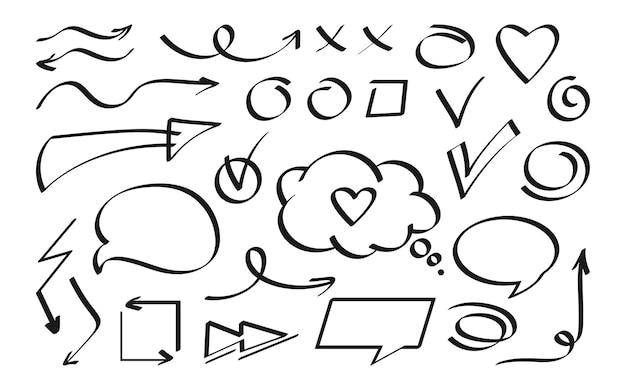 Insieme di elementi di design nero freccia e discorso bolla