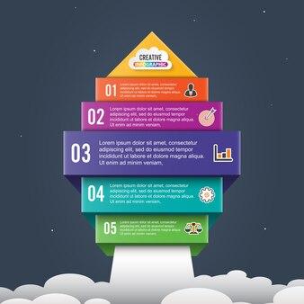 Freccia avviare banner 5 opzioni infografica