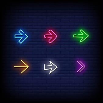 Simbolo della freccia insegne al neon stile testo