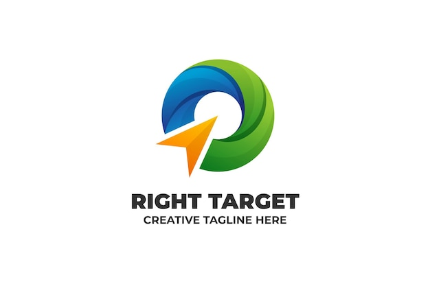 Modello di logo astratto di strategia di destinazione della freccia