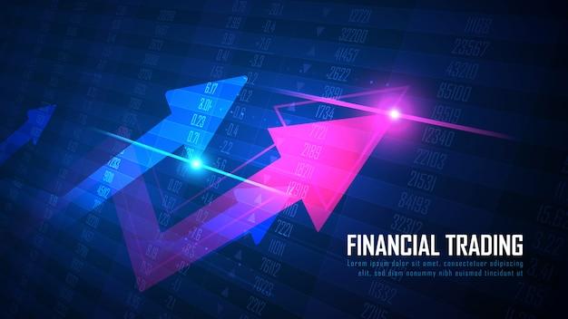 Freccia in su con il concetto di grafico di numeri di borsa o forex