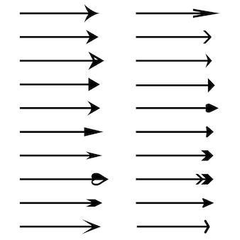 Icone di vettore della freccia. set di frecce vettoriali nere. accumulazione di vettore delle frecce. vettore e illustrazione