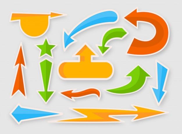Set di adesivi colorati vibranti di freccia. semplice raccolta infografica. cursore comico multicolore, icone del segno