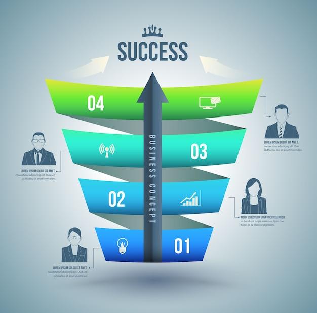 Freccia con il passo verso le opzioni numero di successo con le icone.
