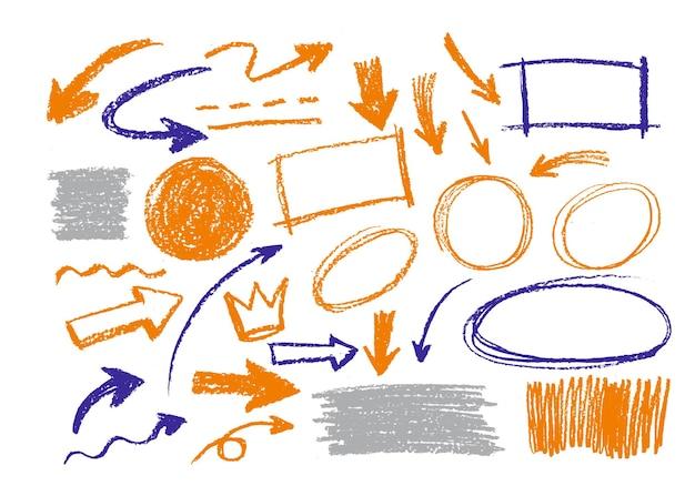 Cerchi di frecce e raccolta di vettore di disegno astratto di doodle