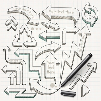 Illustrazione disegnata a mano di scarabocchi delle frecce.