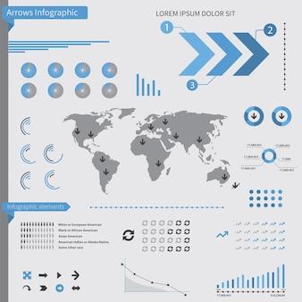 Elementi di infografica frecce, su sfondo bianco