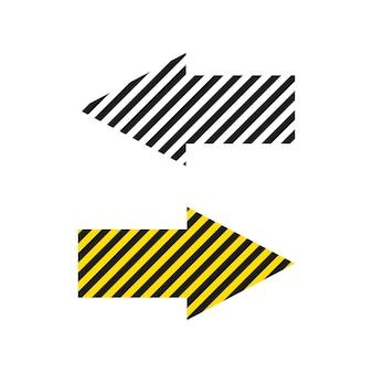 Set di design a strisce lineari di frecce icona di frecce a strisce in semplice stile wlac bianco e giallo
