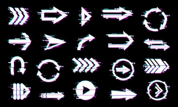 Puntatori a freccia, elementi di navigazione con effetto glitch.