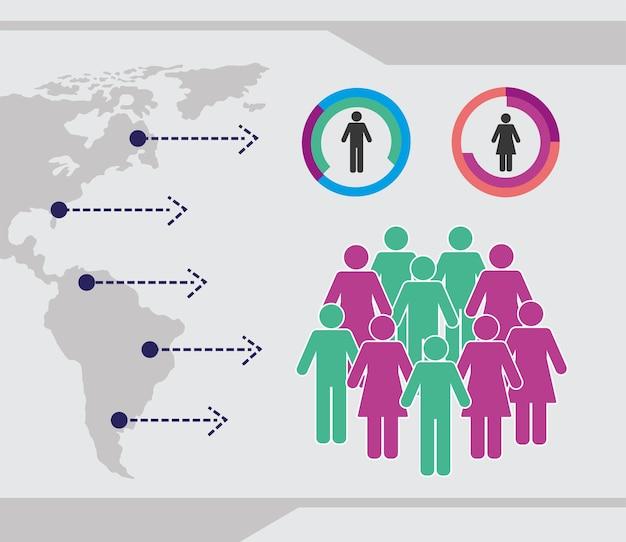 Icone infografica popolazione frecce