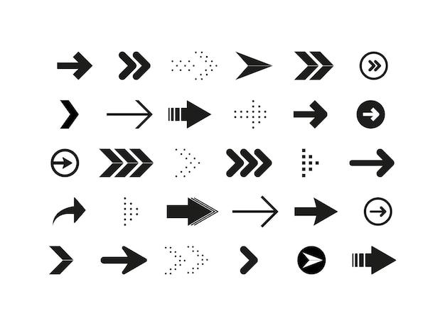 Le frecce impostano la raccolta di icone di frecce diverse frecce o web design