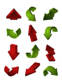 Frecce impostate isolare su bianco. curvatura e rotazione del cursore del puntatore a freccia