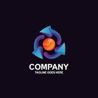Design del logo con frecce e sfera